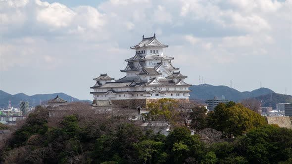 Thumbnail for Himeji Temple White Roofs Under Floating Clouds Timelapse