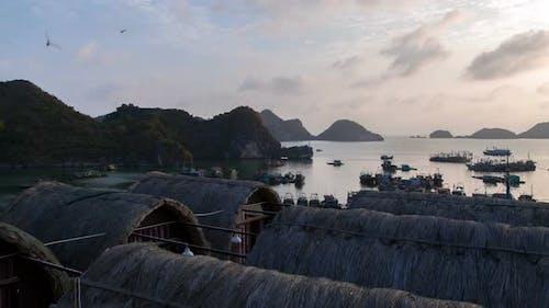 Landscape of Cat Ba Island with Bungalow, Ha Long Bay, Vietnam Timelapse