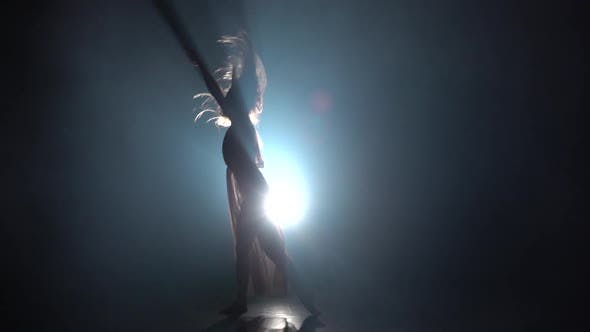 Thumbnail for Sexy Female Performing Contemporary in Dark Studio. Slow Motion
