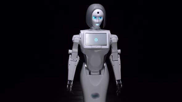 Thumbnail for Robot Leans Forward. Black Background