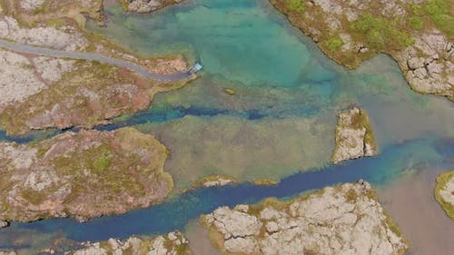 Aerial view of Silfra fissure in Thingvellir National Park, Iceland