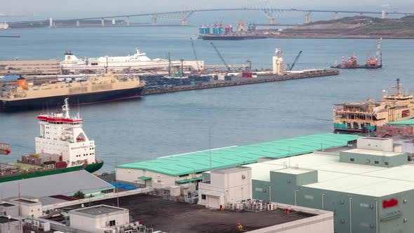 Thumbnail for Timelapse Tokyo Cargo Vessels Moor at Container Terminal