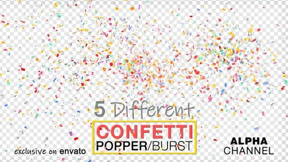 Thumbnail for Multi Colored Popper Confetti Explosions