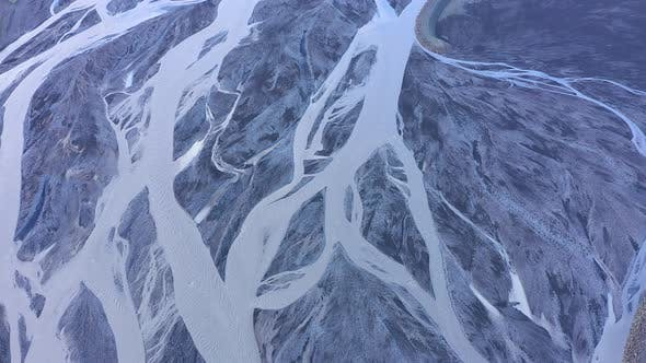 Flying Over a Large Icelandic Glacial River System, Delta in Vatnajokull National Park, Iceland