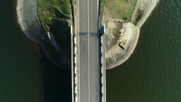 Thumbnail for Aerial View of a Bridge Across Blue Lake
