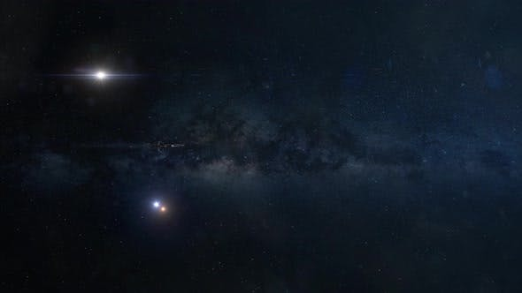 Thumbnail for Wide Shot of a Distant Spaceship Traveling Through Deep Space at Warp Speed