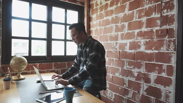 Casual man working
