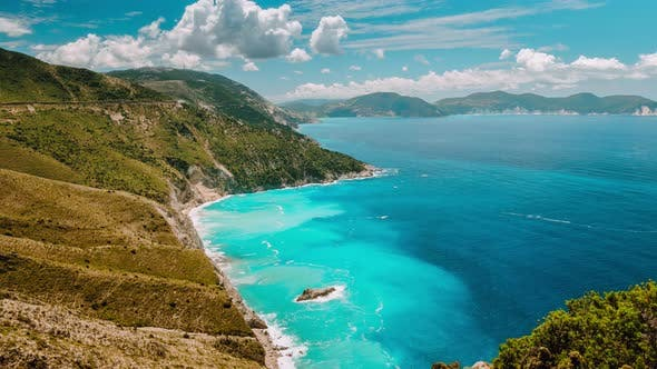 Thumbnail for Large Clouds Building Over Picturesque Rocky Coastline on Kefalonia Island. Amazing Landscape with