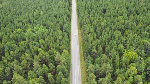 Thumbnail for Aerial View of Car Driving on Country Road in Forest.