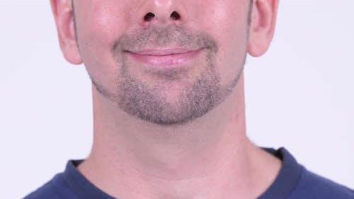 Closeup Shot of Happy Bristled Man Smiling