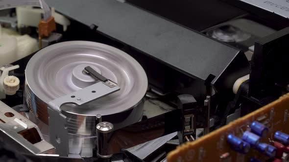 Closeup a VHS Video Cassette Recorder Tape Loading