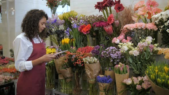 Thumbnail for Florist Checking Prices with Tablet in Flower Shop