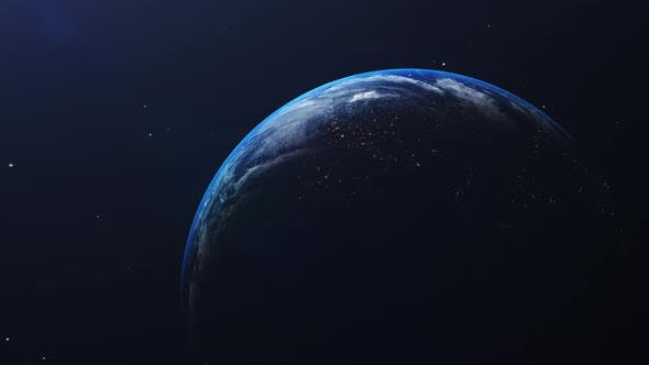 Thumbnail for Earth in space view with shining sunrise in universe and galaxy background