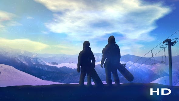 Thumbnail for A Pair Of Snowboarders Standing On The Slope