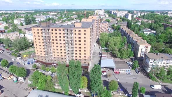 Facade Of A Multi-Storey Building. Aerial shot of the new apartments buildings exterior