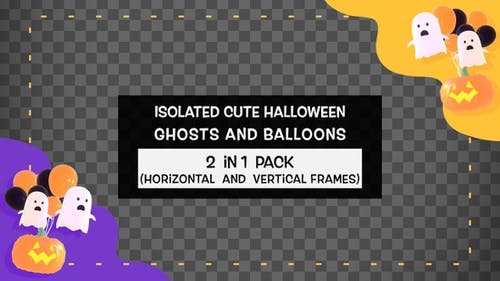 Isolated Cute Halloween Ghosts And Balloons Frame Pack