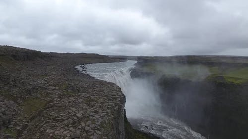Dettifoss waterfall from the drone (Iceland)