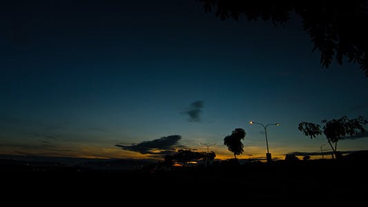 Thumbnail for Blue Sky Sunrise Time Lapse Wide Shot - 3K