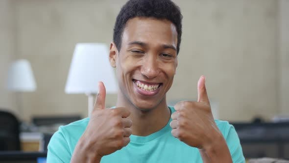 Thumbnail for Thumbs Up by Young Black Man with Both Hands, Portrait