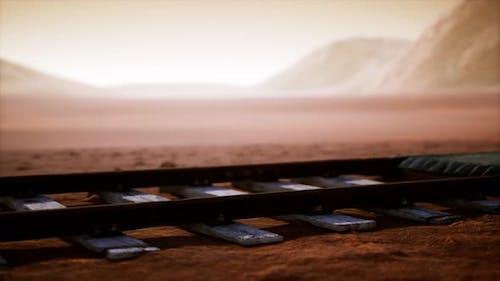 Verlassene Bahngleise in der Wüste