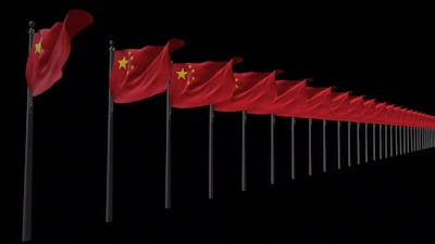 Row Of China Flags With Alpha 2K