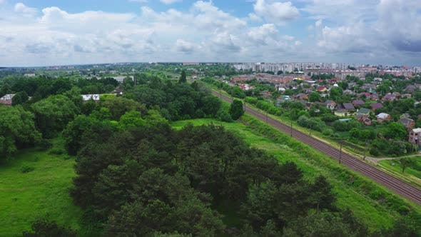 Thumbnail for Aerial View Railway Tracks In City