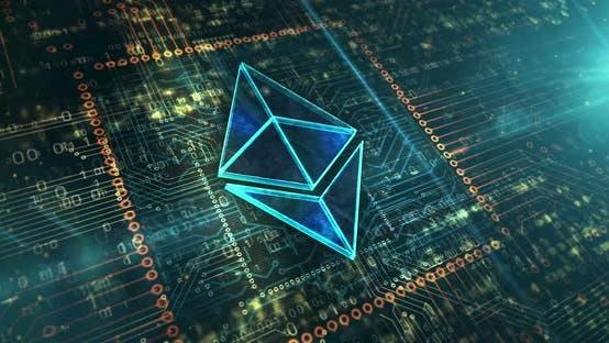 Ethereum symbol digital cryptocurrency