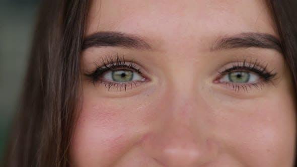 Thumbnail for Closeup of Caucasian Womans Eyes Looking at Camera