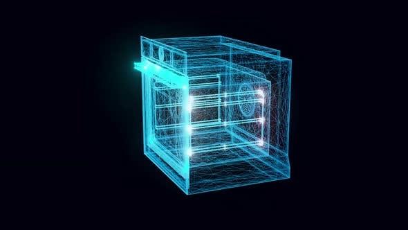 Electric Oven Hologram Rotating 4k
