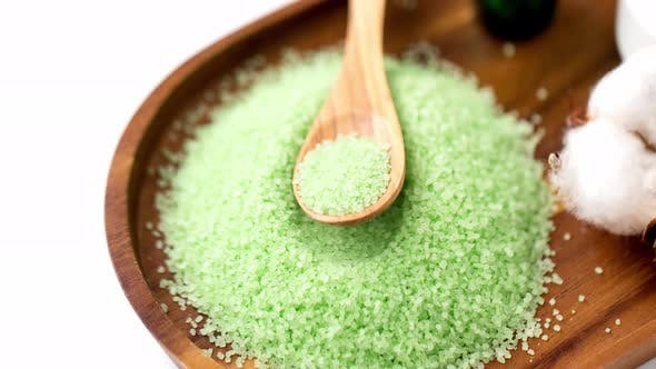 Green Bath Salt with Wooden Spoon on Tray