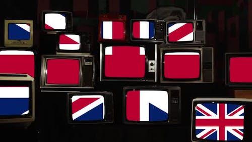 Brexit, UK Union Jack Flag and EU European Flag on Retro TVs. Zoom In.