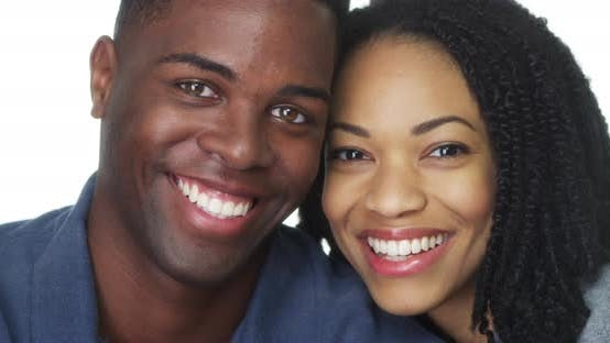Young African American couple smiling together