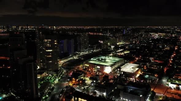 Night Aerial Miami Beach 5th Street And Alton West Avenue
