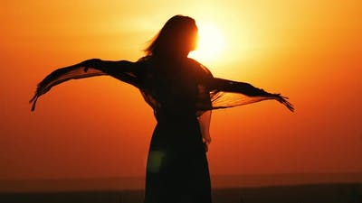 Silhouette Joy at Sunset
