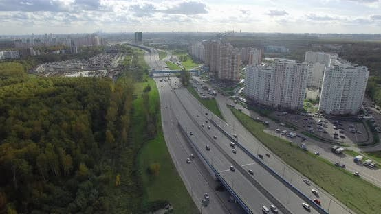 Cover Image for Aerial Panorama of Moscow City with Wide Highway, Russia