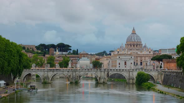 Thumbnail for Time Lapse River Tiber in Rome at St Peters Basilica in Vatican City