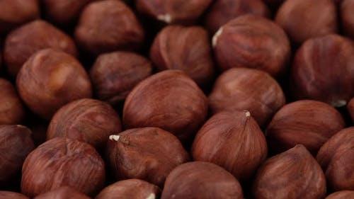 hazelnuts close up. Healthy food concept. Sliding shot. 4K UHD video