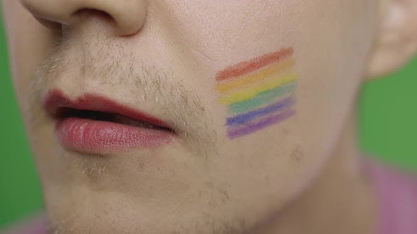 Thumbnail for Bearded Man with Painted Lips Licks Them Sexually. LGBT Community. Transsexual
