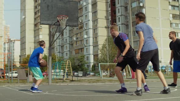 Thumbnail for Streetball Players Passing the Ball on Court