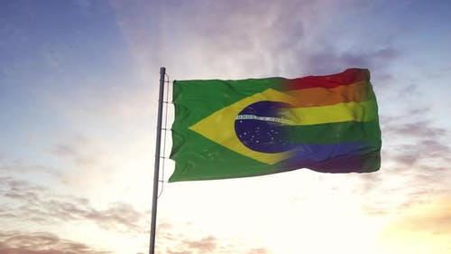 Waving National Flag of Brazil and LGBT Rainbow Flag Background