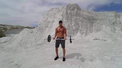 Man training in the mountain