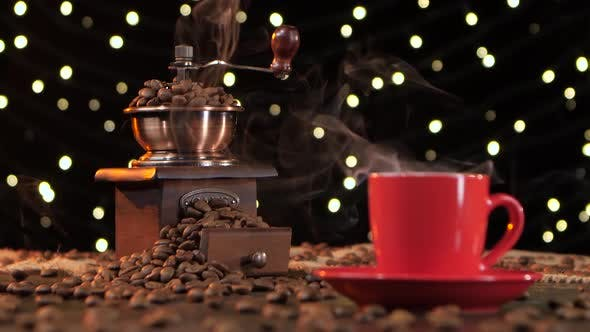 Thumbnail for Coffee Grinder Filled with Roasted Coffee Beans. Background with Lights