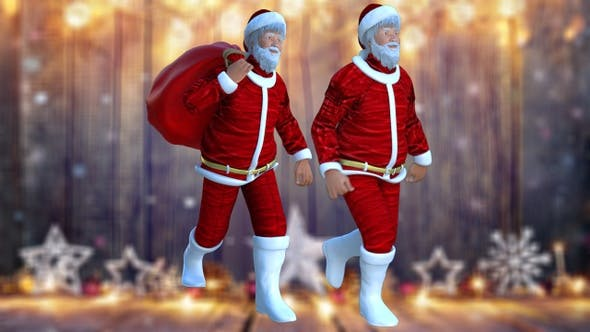 2 santa claus walking from 3 diffrent angels