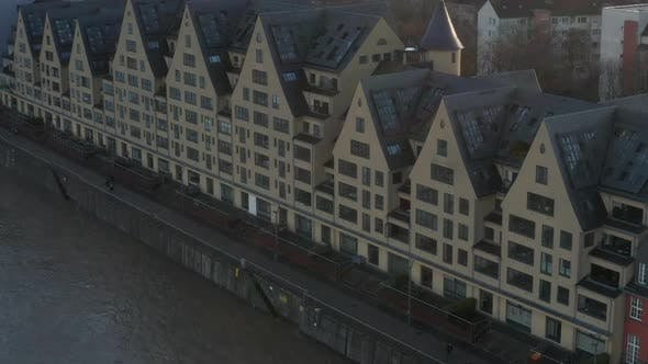Thumbnail for AERIAL: European Houses on River in Cologne Germany with Beautiful Sunlight