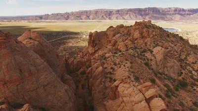 Descending drone in Moab