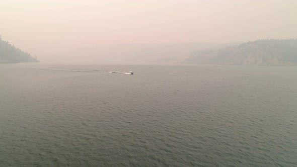 Thumbnail for Eastern Washington Wildfire Smoke Aerial Of Boating And Tubing