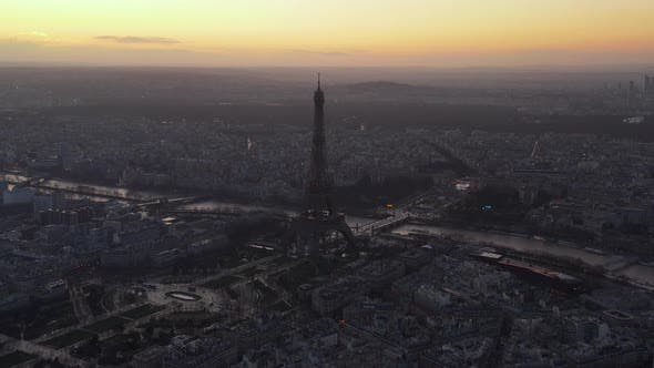 Thumbnail for AERIAL: Eiffel Tower,Tour Eiffel in Paris, France Drone View with Beautiful Sunset Sky