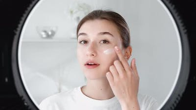 Facial Care Skin Moisturizing Woman Applying Cream