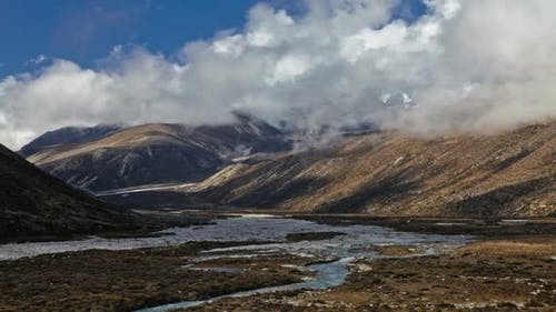 Time-lapse of the valley floor in the Himalaya in Nepal