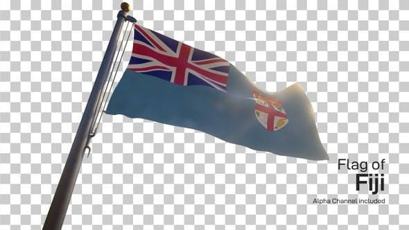 Fiji Flag on a Flagpole with Alpha-Channel